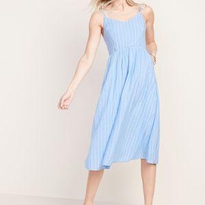 Fit & Flare Striped Cami Midi Dress